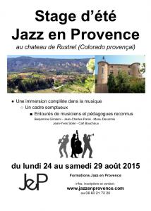 Stage d'été Jazz en Provence 2015_Affiche