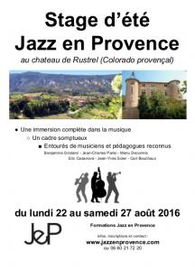 20160223_Stage d'été Jazz en Provence 2016_Affiche