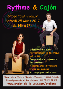 Stage Rythme & Cajón le samedi 25 Mars 2017